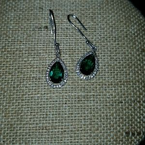 New Emerald and diamond pear shape earrings